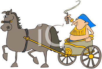 Royalty Free Clipart Image of a Gladiator in a Horse-Drawn Chariot