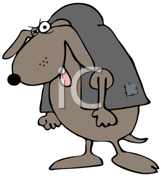 Royalty Free Clipart Image of a Hunchback Dog