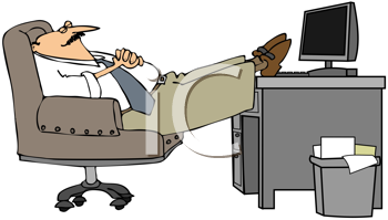 Royalty Free Clipart Image of a Man Resting His Feet on His Desk