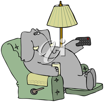 Royalty Free Clipart Image of an Elephant in a Easy Chair