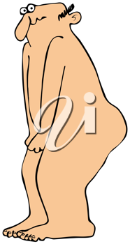 Royalty Free Clipart Image of a Naked Man