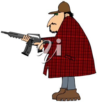 Royalty Free Clipart Image of a Man With an Assault Rifle