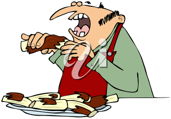 Royalty Free Clipart Image of a Man Eating Ribs