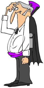 Royalty Free Clipart Image of a Vampire Scratching His Head