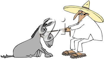 Royalty Free Clipart Image of a Man Pulling a Donkey