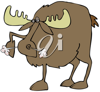 Royalty Free Clipart Image of an Angry Moose