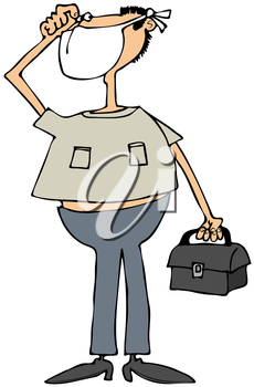 Royalty Free Clipart Image of a Man Wearing a Mask and Carrying a Medical Bag