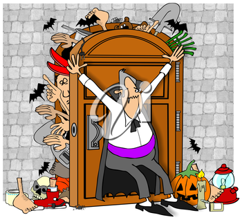 Royalty Free Clipart Image of a Vampire Holding a Door