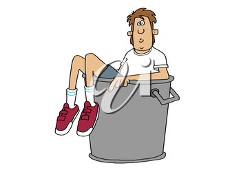 Royalty Free Clipart Image of a Boy in a Trash Can