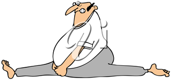 Royalty Free Clipart Image of a Man Hurt When Doing the Splits