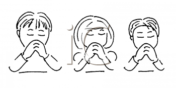 Royalty Free Clipart Image of Children Praying