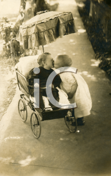 Royalty Free Photo of Two Young Children Kissing