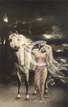 Royalty Free Photo of a Woman and Horse