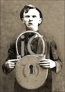Royalty Free Photo of a Man Making a Funny Face While Holding a Large Lock