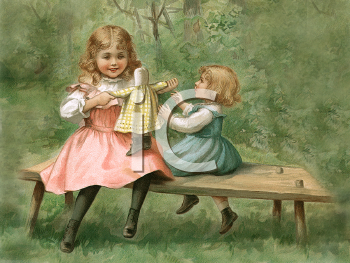 Royalty Free Victorian Illustration of two Girls Playing with a Rag Doll