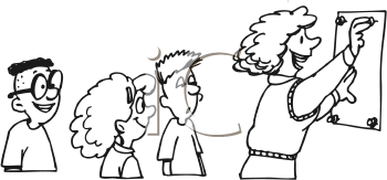 Royalty Free Clipart Image of Students Watching Their Teacher