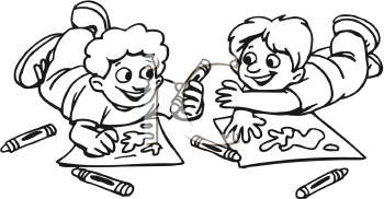 Royalty Free Clipart Image of Two Boys Coloring With Crayons