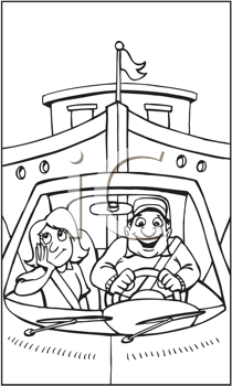 Royalty Free Clipart Image of a Man and a Woman in a Car Towing a Big Boat