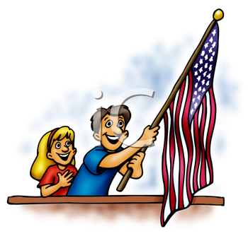 Royalty Free Clipart Image of People Waving an American Flag