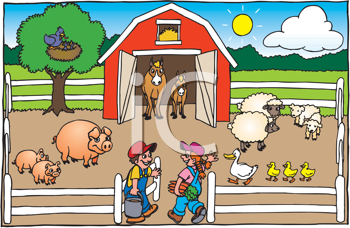 Royalty Free Clipart Image of People and Animals in a Barnyard