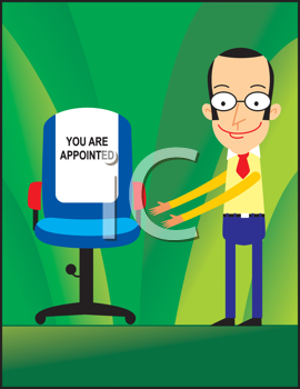 Royalty Free Clipart Image of a Man Indicating a Chair With a You Are Appointed Sign