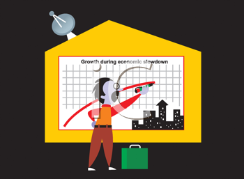 Royalty Free Clipart Image of a Man Drawing on a Chart