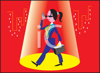 Royalty Free Clipart Image of a Businesswoman in a Spotlight