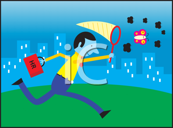 Royalty Free Clipart Image of a Human Resources Man Chasing a Butterfly