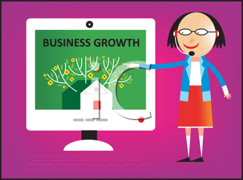 Royalty Free Clipart Image of a Woman Showing a Chart With Business Growth