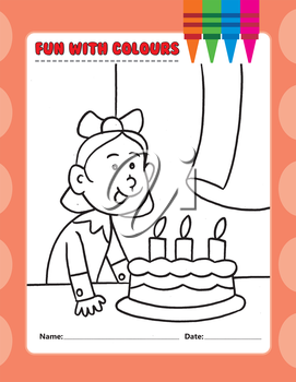 Royalty Free Clipart Image of a Colouring Page of a Girl With a Birthday Cake