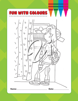 Royalty Free Clipart Image of a Colouring Page of a Boy Looking Out a Window
