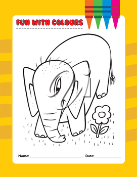 Royalty Free Clipart Image of an Elephant and Flower Colouring Page