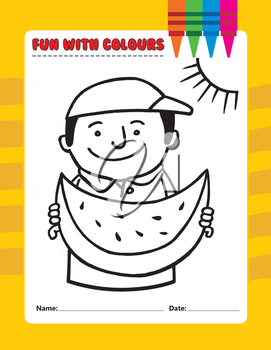 Royalty Free Clipart Image of a Boy Eating a Watermelon Colouring Page
