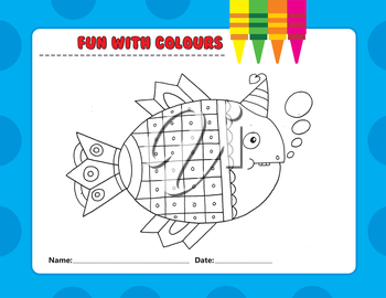 Royalty Free Clipart Image of a Colouring Page of a Party Fish