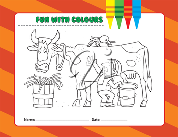 Royalty Free Clipart Image of a Colouring Page of a Man Milking a Cow