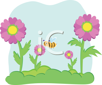 Royalty Free Clipart Image of Flowers and a Bee