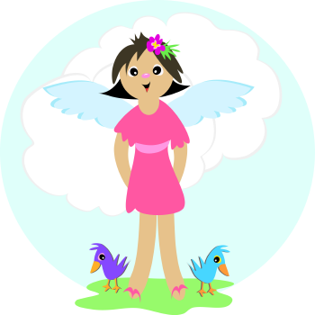 Royalty Free Clipart Image of an Angle Girl and Birds