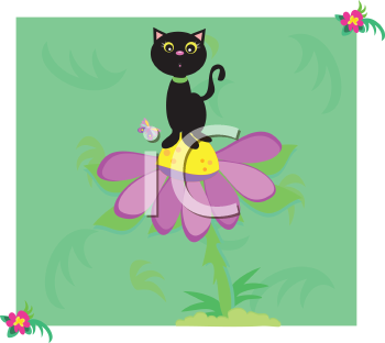 Royalty Free Clipart Image of a Cat on a Flower