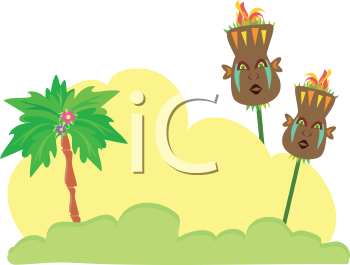 Royalty Free Clipart Image of Tiki Torches in a Tropical Setting