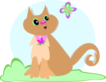 Royalty Free Clipart Image a Cat and Butterfly