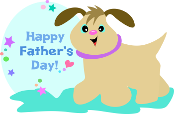 Royalty Free Clipart Image of a Happy Father's Day Greeting With a Dog