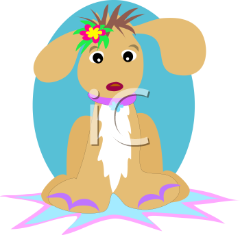 Royalty Free Clipart Image of a Dog Sitting on a Mat