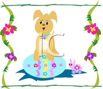 Royalty Free Clipart Image of an Easter Toy Pup