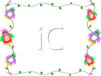 Royalty Free Clipart Image of a Frame With Parrots and Vines