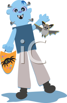 Royalty Free Clipart Image of a Halloween Monster Trick or Treating