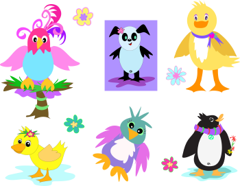 Royalty Free Clipart Image of a Collection of Birds and Flowers