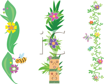 Royalty Free Clipart Image of Plants and Bugs