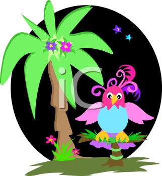 Royalty Free Clipart Image of a Parrot and Palm Tree
