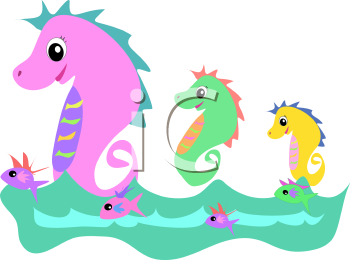 Royalty Free Clipart Image of a Swimming Seahorses and Fish