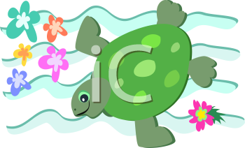 Royalty Free Clipart Image of a Turtle Swimming